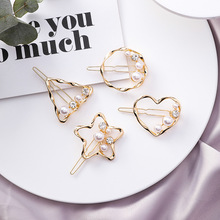 2019 Trendy Gold Color Metal Geometric Circle Triangle Hairpins For Women Fashion Hair Accessories Hollow Heart Star Hairgrips