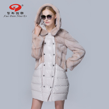 Women mink fur down coat for winter top quality mink fur long parkas thick warm female clothes brand new fashion lady jacket