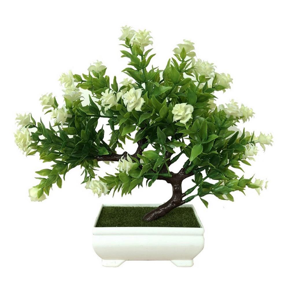 Искусственное растение Моделирование бонсай из цветов горшечный орнамент Настольный подарок Красивая мода домашний декор розы украшение дома - Цвет: white