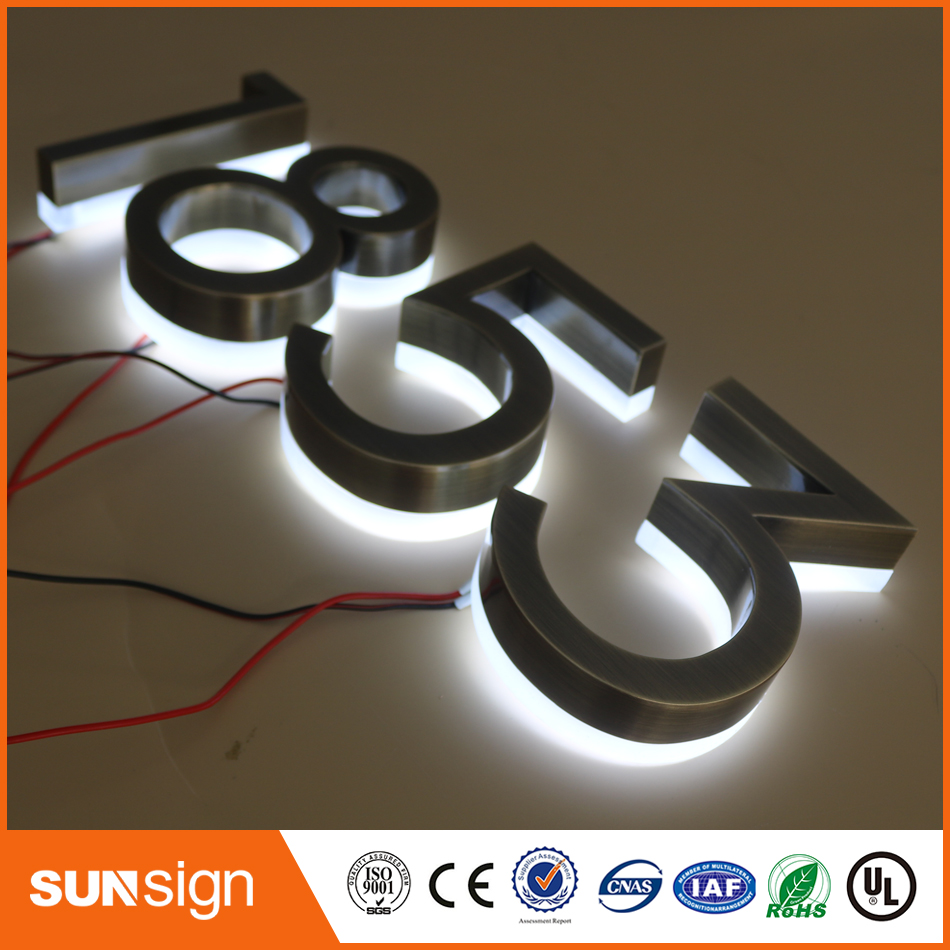 Frontlit Led Sign Brushed Stainless Steel Edge
