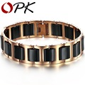 OPK New Fashion White / Black Ceramic Bracelets & Bangles, Rose Gold/Silver Plated Stainless Steel Men Pulseiras Charm Jewelry