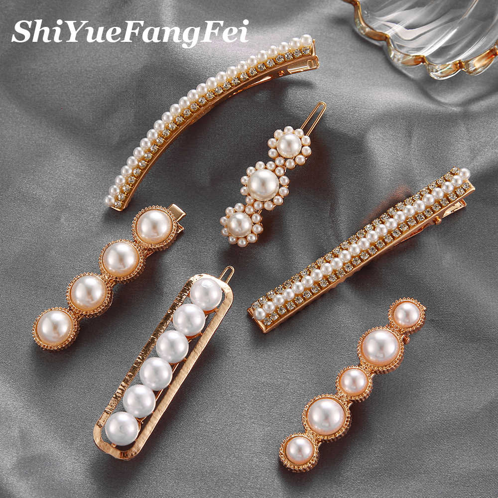 Trendy Simulated Pearls Hair Clips Flower Hair Jewelry Cute Wedding Elegant Hair Pins for Women Hair Bobby Pins