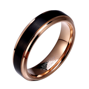 Image 3 - Soul Men 1 Pair Man & Woman Black & Rose Gold Color Tungsten Carbide Marriage Wedding Rings Set 8mm for Boy 6mm for Girl