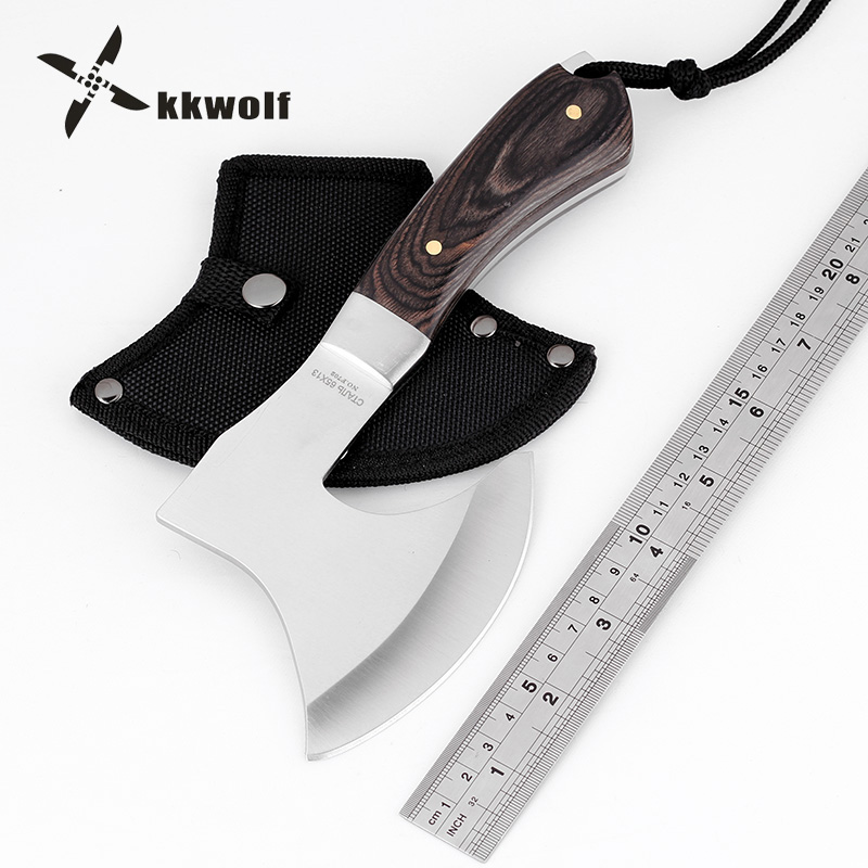 KKWOLF Mini Portable Axe Outdoor Camping Multi Tool Survival Tactical Axe Stainless Steel Blade Fixed Knife Very Sharp Utility compact portable stainless steel spoon fork multi tools knife red