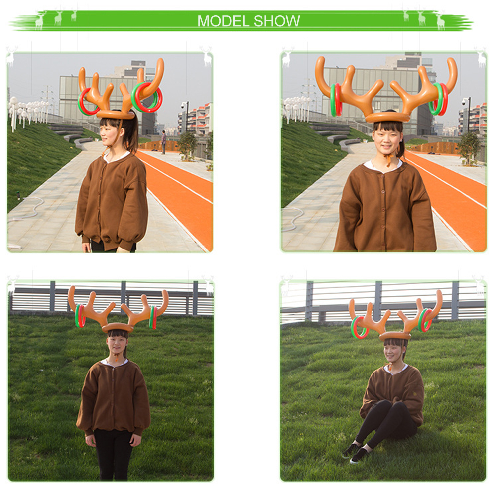 Funny Reindeer Antler Christmas Toy Inflatable Reindeer Christmas Hat Antler Ring Toss Holiday Party Game Toys