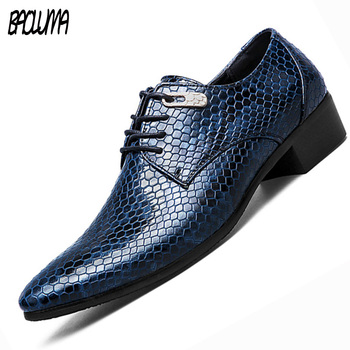 BAOLUMA Artificial Snake Leather Men Casual Oxford Shoes Lace-Up Business Men Pointed Shoes Brand Men Wedding Men Dress Boat