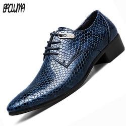 BAOLUMA sztuczne skóra węża mężczyźni buty Oksford na co dzień sznurowane Business mężczyzn buty ze spiczastym noskiem męskie marki marki mężczyźni ubierają łodzi