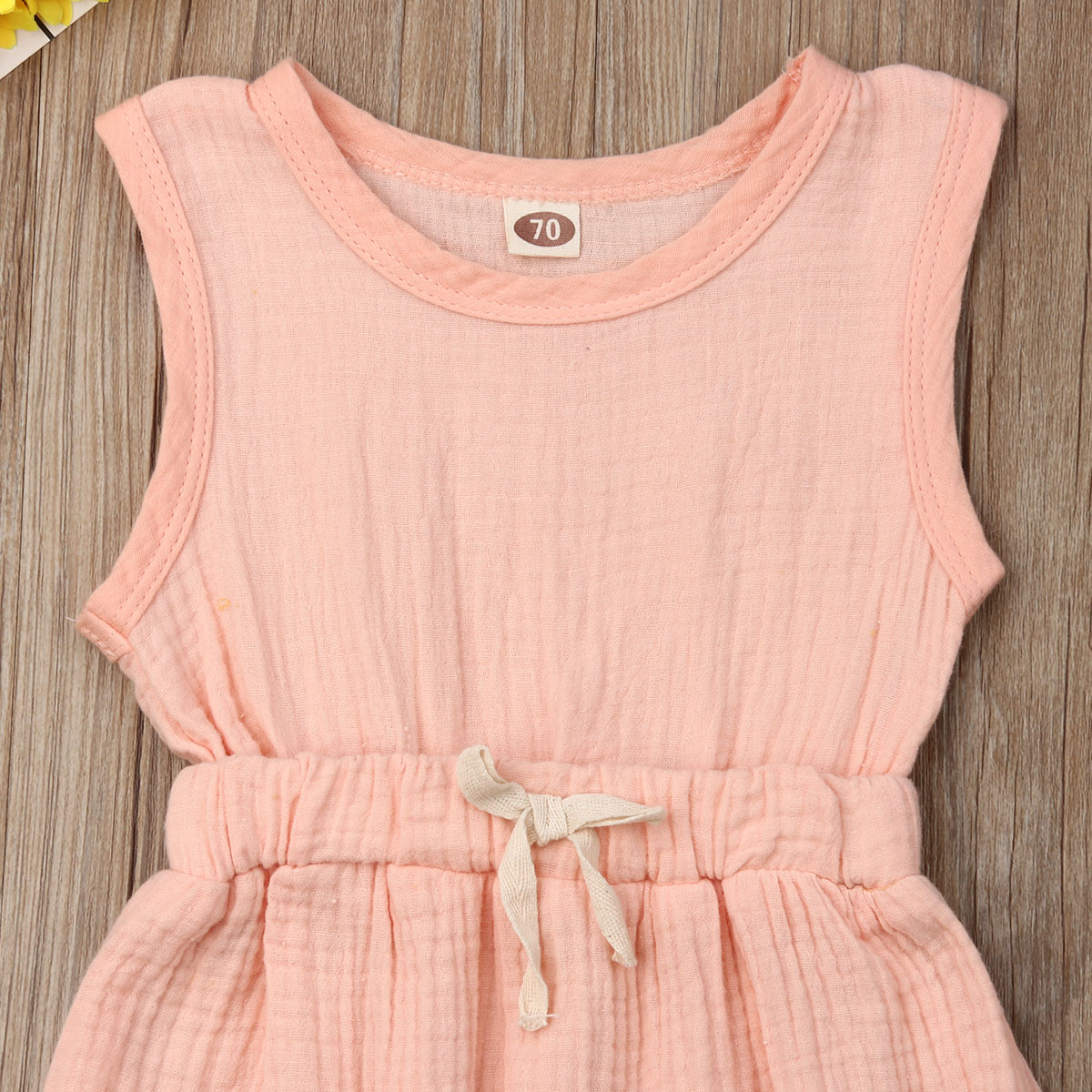 0 18M Newborn Toddler Baby Girl Ruched Romper Cotton Sleeveless Bowknot Lace Up Jumpsuit Casual Cute Baby Clothes Summer in Rompers from Mother Kids