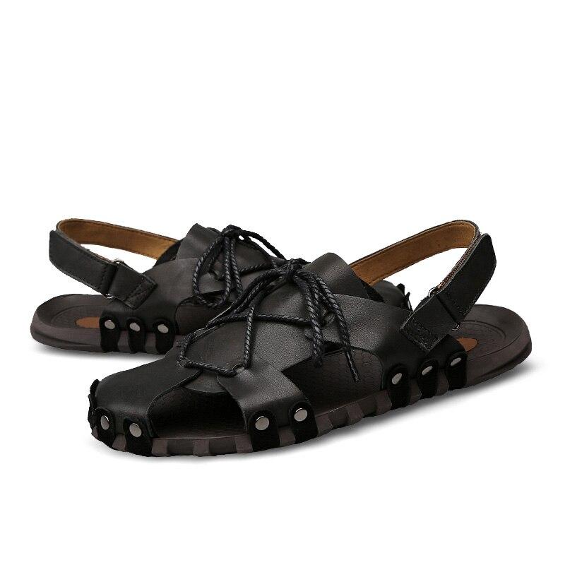 Men Sandals Summer Genuine Leather Beach Shoes Plus Size 38- 46 Men Handmade Comfortable Sandals Mens Soft Outdoor Shoes wx5