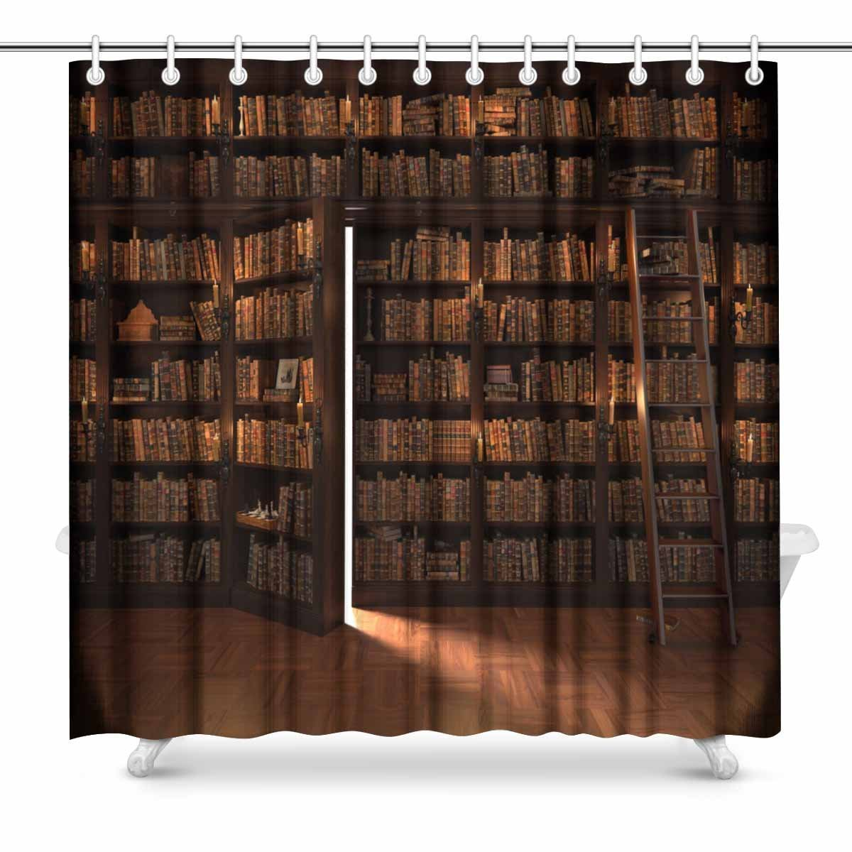 Us 17 85 4 Off Aplysia Secret Door In The Bookcase Mysterious Library With Candle Lighting Art Decor Print Bathroom Shower Curtains In Shower