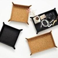 Japan Style Leather Storage Trays Multi Use Table Organizer for Sundries Zakka Style Wood Doorway Keys/Coins Storage Box