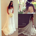 Boho boêmio Praia Vestido de Noiva Barato Vestidos de Noiva 2017 Tulle Querida Lace Backless Vestidos de Casamento Vestido De Novia Gispy