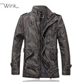 Mens PU Leather Fleece Jacket Motorcycle Men Bomber Coats Thick Stand Collar Cool Clothing Jaqueta Couro Masculino E446