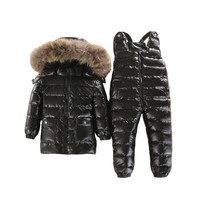 30 3~5 Y Russian Snowsuit children sets Baby white down Boys Waterproof Clothing Kids Coat Winter jacket for Girls Enfant Parka