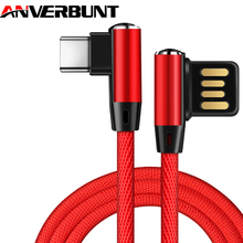 USB Cable Max 2.1A Fast Charging 90 Degree Reversible Type C Micro Charger L Bending Nylon Cord for iPhone