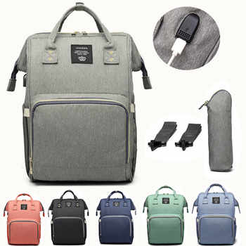 LEQUEEN USB Diaper Bag Baby Care Large Capacity Mom Backpack Mummy Maternity Wet Bag Waterproof  Baby Pregnant Bag - DISCOUNT ITEM  35% OFF All Category