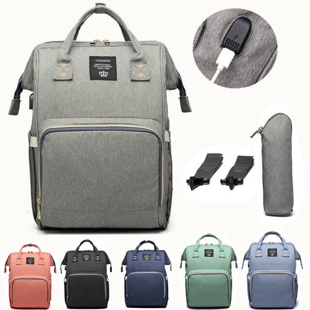 Lequeen usbおむつバッグベビーケア大容量ママバックパックミイラ産科ウェットバッグ防水ベビー妊娠中のバッグ
