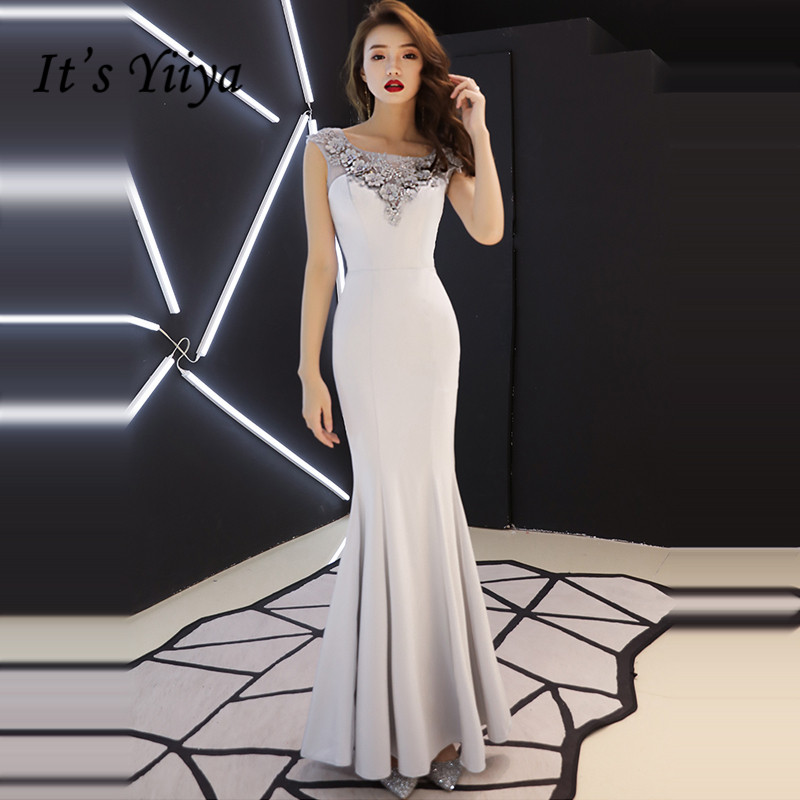 It's YiiYa Evening Dress 2019 Gray Appliques Floral Beading Illusion Sleeveless Trumpet Evening Gowns TR041 Robe De Soiree