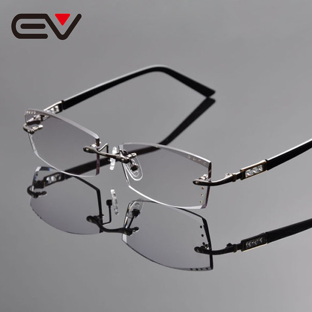 2016 baru pria elegan pria titanium berlian pemangkasan kacamata tanpa  bingkai frame resep kacamata optik ev1260 fa4eb50de4