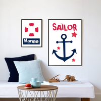 Canvas Print Painting Simple Navy Blue Sailor Marine Nursery Quote Anchor For Kid Room Wall Decor Home Decoration No Frame