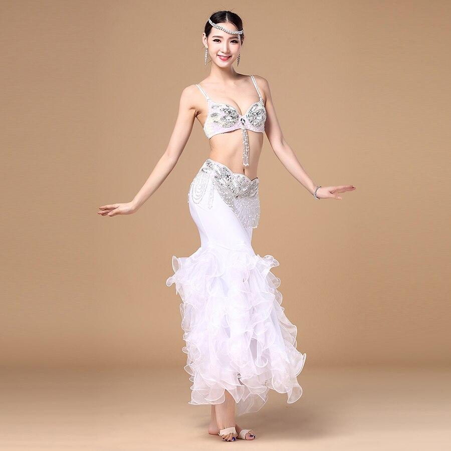 2017 Professional Luxury Belly Dance Costume 3 Pcs Bra&belt&skirt 34b/c 36b/c 38b/c Colour White