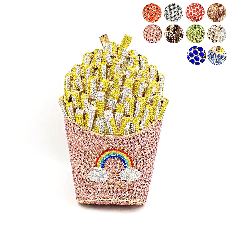 Newest Bridal wedding party purses women evening party special bag diamonds French fry fries rainbow clutches crystal purses(China)