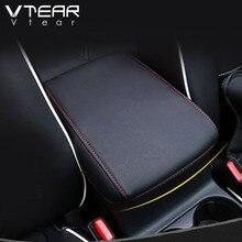 Vtear для Mazda CX-5 CX5 центральный ящик подлокотник защиты Искусственная кожа колодок Обложка Аксессуары для украшения интерьера 2017 2018 2019