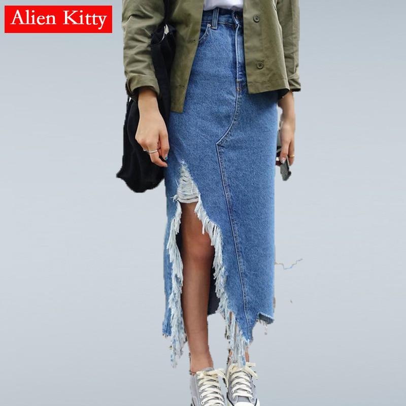 Alien Kitty Women Split Front Hole Denim Skirt 2019 New Fashion Summer Long Pencil Skirt Women Blue Slit High Waist Casual Skirt