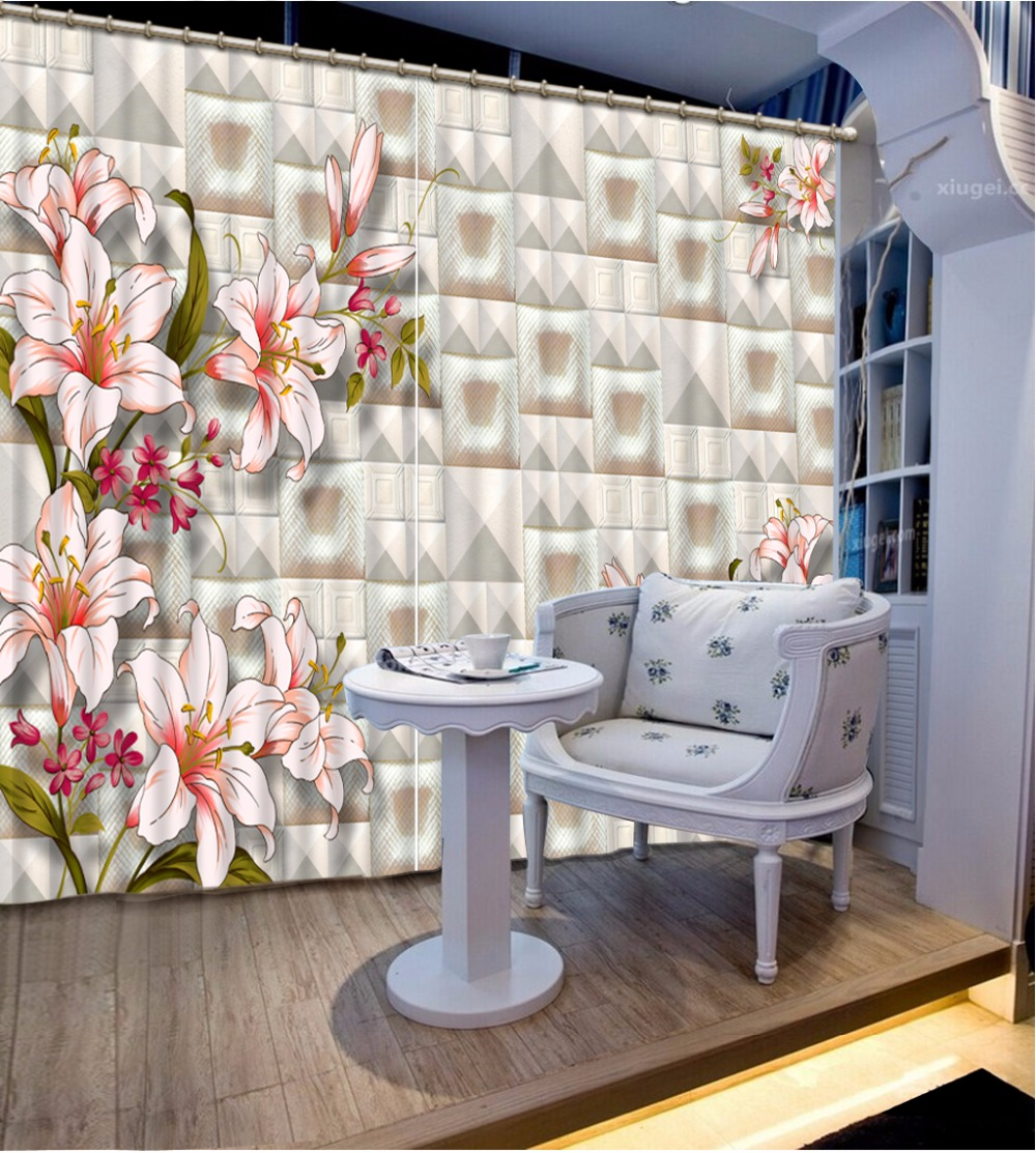 3d curtains modern style Simple flower wall curtains-for-living-room window custom made3d curtains modern style Simple flower wall curtains-for-living-room window custom made