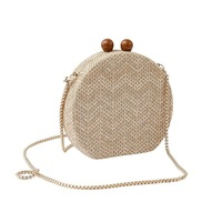 [Telastar] Round Handbag Banquet Clutch Crossbody Bags For Women Circular Strip Weave Shoulder Bag Resin Chain Strap Wood Handle