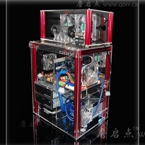 QDIY PC-C004LQ can Install 320mm Graphics Card Transparent Acrylic Water-cooling Computer Case Chassis qdiy fz tm80c personalized computer case 80mm matte transparent colored lamp cooling fan