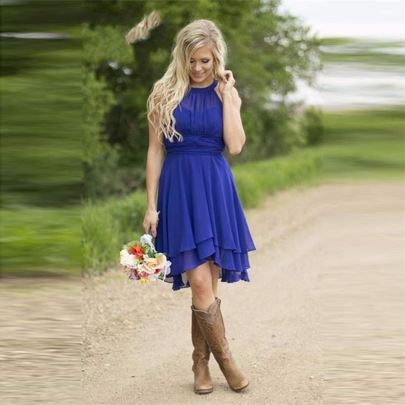 Royal Blue Short Chiffon Rustic Bridesmaid Dresses High Neck High Low A-line Knee Length Informal Summer Wedding Party Dress