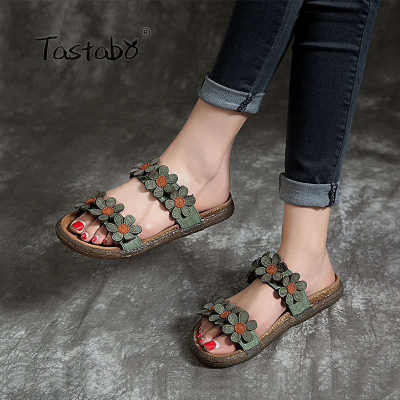 Tastabo Summer fashion slippers Handmade flower shoes Soft sole For Women Outdoor Slippers Comfortable insole fits