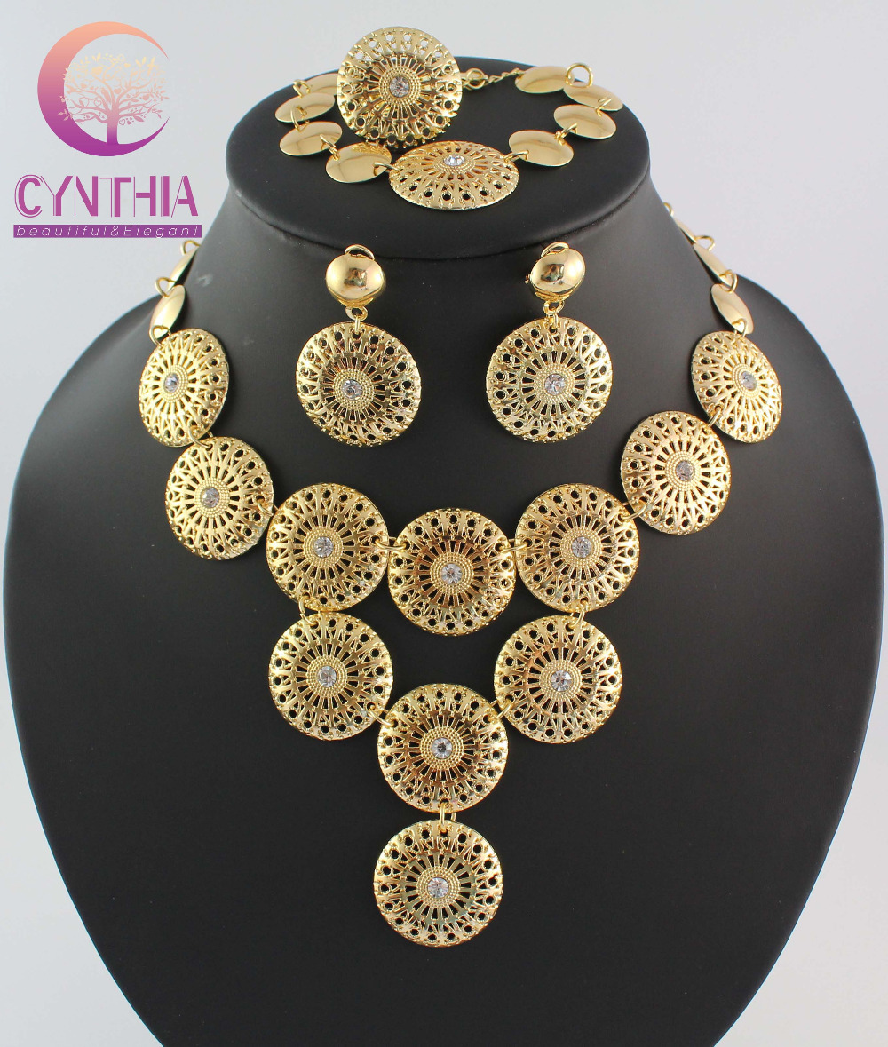 Wholesale Retail Dubai African Chunky Golden gold Crystal Necklace Bracelet Earring Ring Jewelry Sets WB 1100
