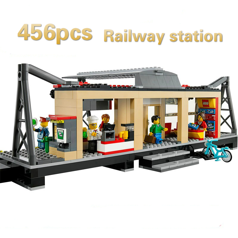 Model Building Blocks toys 456Pcs 02015 Train Station Compatible with lego City Series 60050 Brick DIY toys & hobbies lepin 02015 456pcs city series train station car styling building blocks bricks toys for children gifts compatible 60050