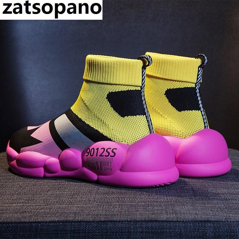 2019 femmes chaussures de marche chaussures de Jogging légères sans lacet chaussettes chaussures femmes chaussures de sport noir maille respirant baskets