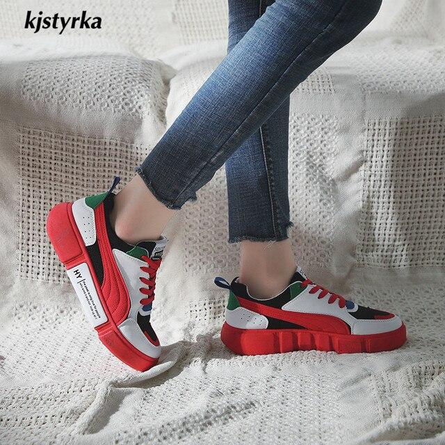 787a540c0 Dinâmica Kjstyrka 2018 sapato feminino de alta qualidade Casual moda Mulher  Sapatilhas cores misturadas senhoras Antiderrapante