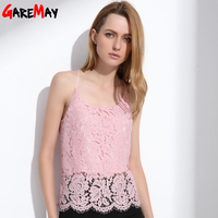 GAREMAY Lace Cami Women Summer Tops Elegant White Strapless Camisole Hollow Solid Pink Halter Fashion Sexy