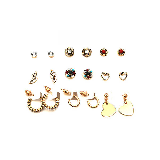 9 pairs /set  New fashion women's jewelry wholesale girls birthday party pearl earrings set mashup earrings
