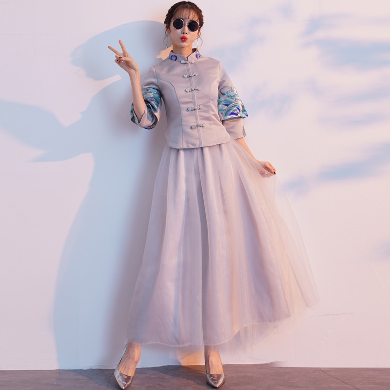 2019 New Chinese style Standing collar Color embroidery Dress Chinese bridesmaid dress chinese dress Qipao Size S XXL