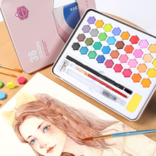 Buy 36 Colors Solid Waterolor Paint Set Metal Box Portable Pink/Blue Watercolor Painting Pigment For School Students Art Supplies directly from merchant!