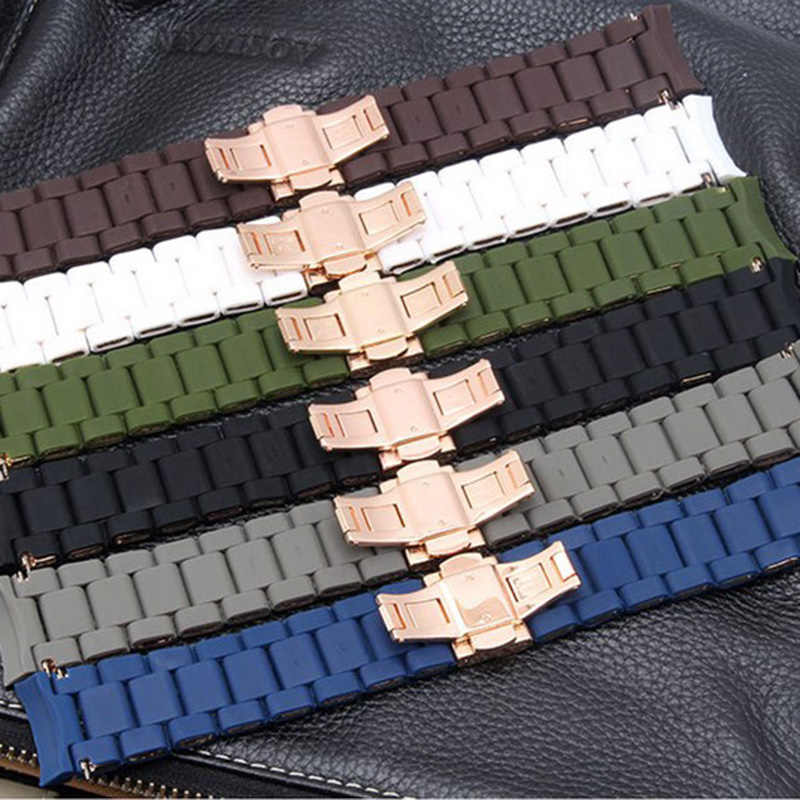 20 MM 23 MM Cinturino In Silicone Gomma Clad Cinturino Cinturino In Silicone per ar5891 ar5890 ar5905/5906 ar5919/5920 coppia Guardare Accessori