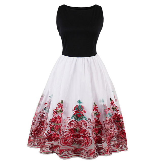 Sisjuly Women's Vintage Red Color Dress Sleeveless Knee-Length O-Neck One-Piece Dress Lady Fashion Embroidery Party Dating Dress