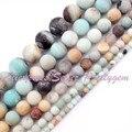 """Natural Amazonita Rodada Geada Multicolor Gem Stone Beads Strand 15 """"4,6, 8,10, 12mm Para Colar DIY Fazer jóias, Frete Grátis"""