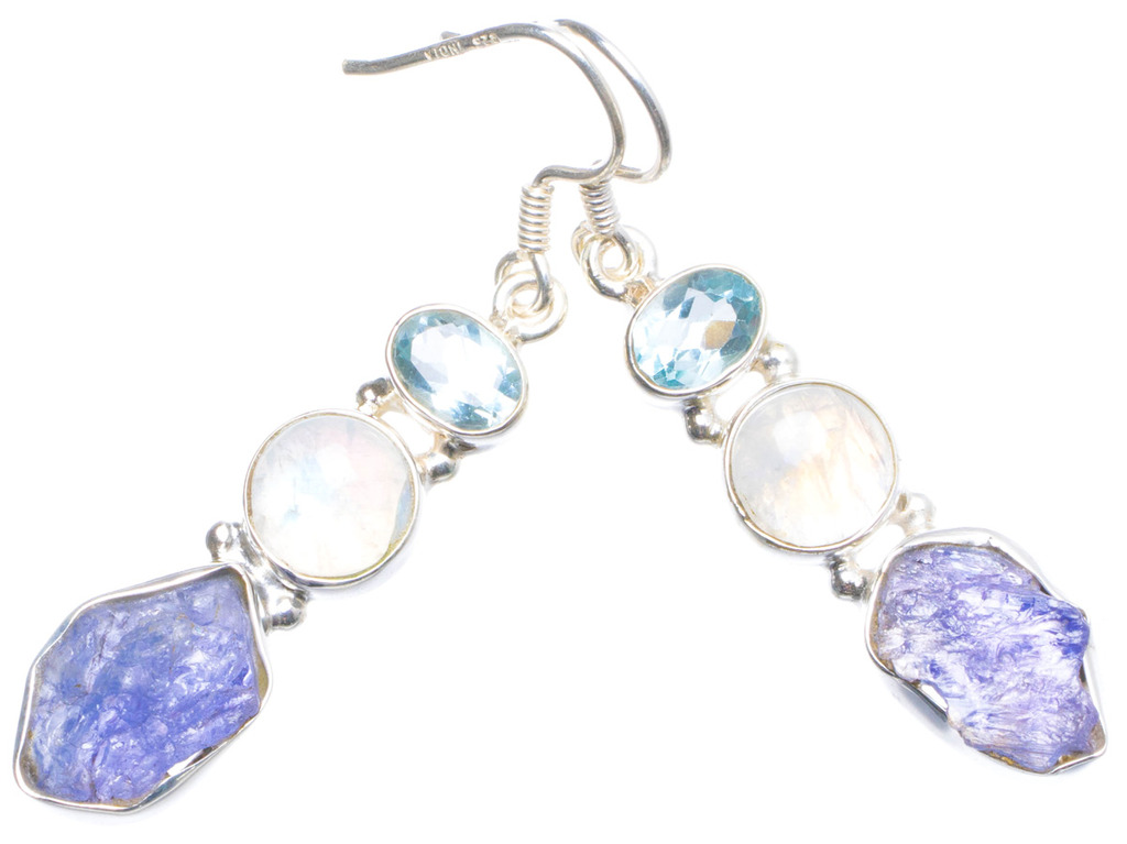 Natural Rare Cluster Amethyst,Rainbow Moonstone and Blue Topaz 925 Sterling Silver Earrings 2