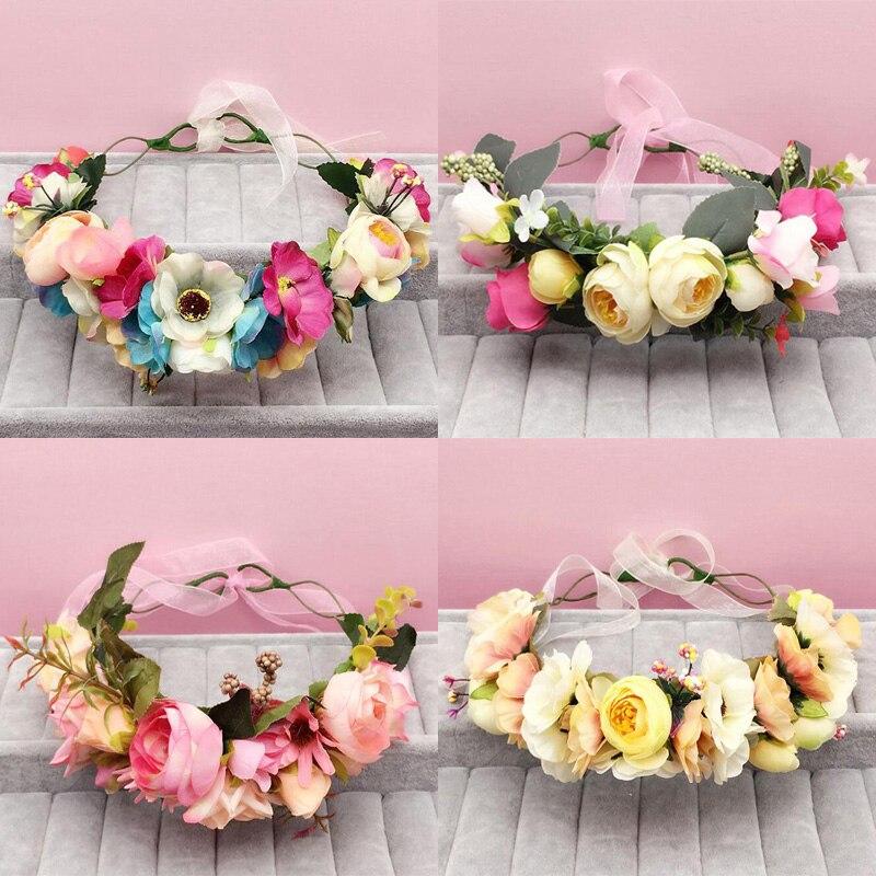 ms reciente novia de la boda guirnalda beb girls floral flor de la corona de las mujeres adornos accesorios para el cabello to