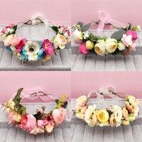 Newest Bride Wedding Garland Baby Girls Floral Flower Crown Women Headdress Jewelry Studio Photos Ornaments Hair