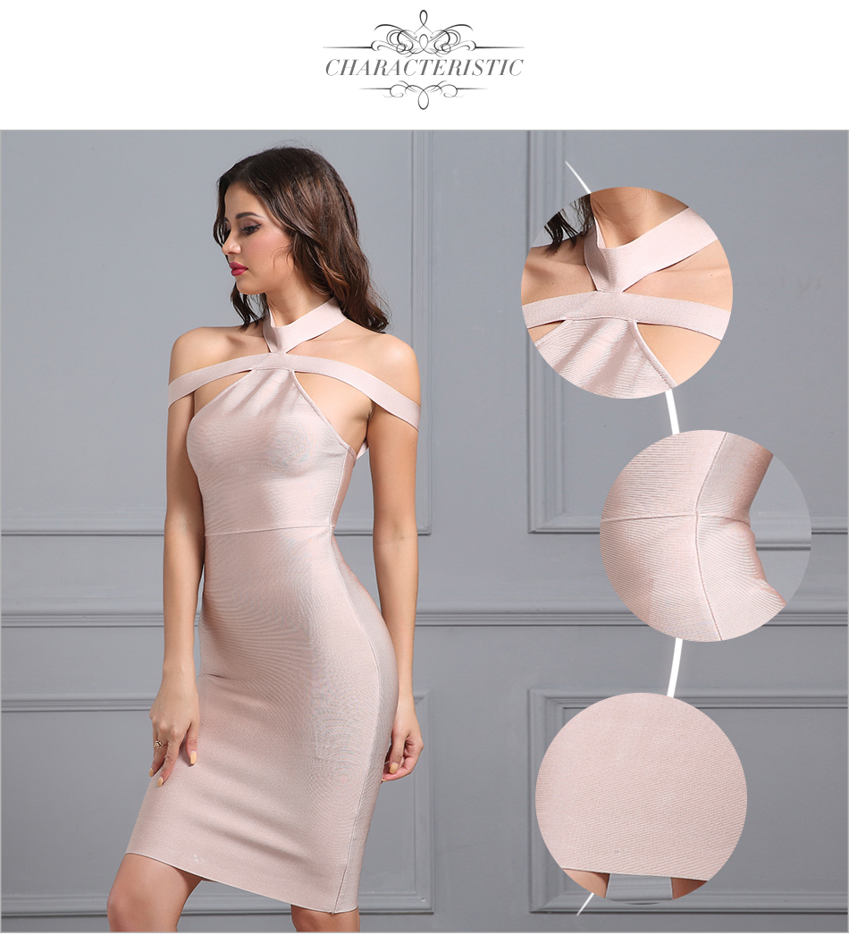 Off The Shoulder Halter Apricot Bandage Dress