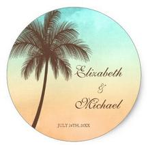 1.5inch Tropical Beach Palm Tree Round Wedding Favor Label Classic Round Sticker