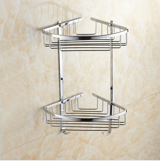 Aliexpress.com : Buy Wall Mounted Chrome Brass Bathroom Soap Dish Bath Dual  Tiers Shower Shelf Bath Shampoo Holder Building Material From Reliable  Material ...